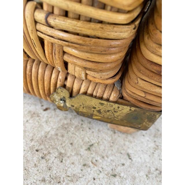 Wicker Vintage Coastal Wicker Braid Drop Down Front Trunk For Sale - Image 7 of 13