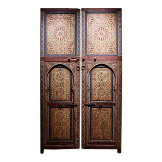 Antique Moroccan Hand-Painted Doors - a Pair For Sale