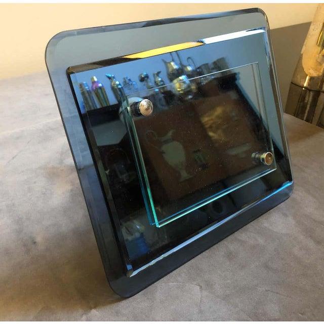 1970s Italian Vintage Cristal Arte Blue Glass Photo Frame For Sale - Image 12 of 13