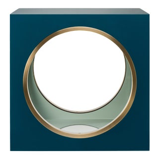 Steven Gambrel Collection Circles & Squares Table in Teal / Brass For Sale