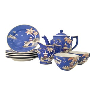 Antique Japanese Porcelain Hand-Painted Moriage Coffee/ Tea Set - Set of 10 For Sale