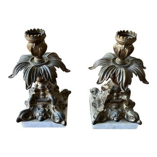 Vintage Marble & Metal Acanthus Candle Holders - a Pair** For Sale