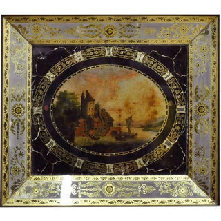 19th Century French Napoleon III Hand-Painted Wall Clock For Sale