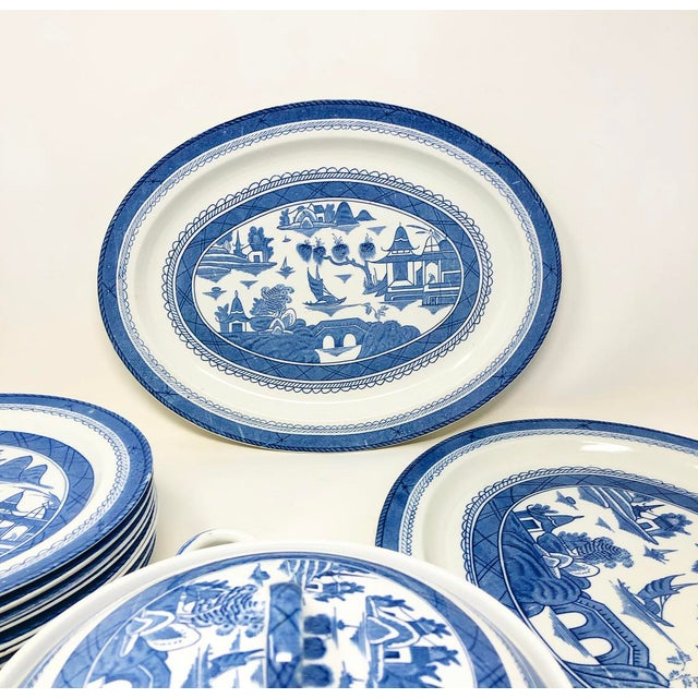 Antique Blue & White Canton Pattern China Collection - Set of 14 For Sale - Image 12 of 13