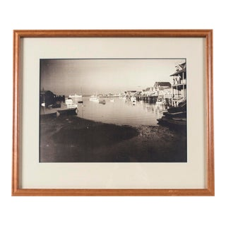 """Early 20th Century """"Nantucket Harbor"""" Black & White Photograph by James F. Barker, Framed For Sale"""