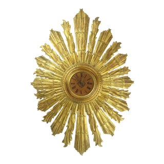 Rare Antique Italian Carved Starburst Clock Gilt Wood C1950 Vtg Mirror Stunning For Sale