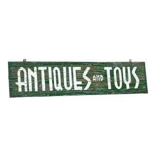 Extra Large Vintage Sign From Antiques and Toys Storefront, Hand-Painted For Sale