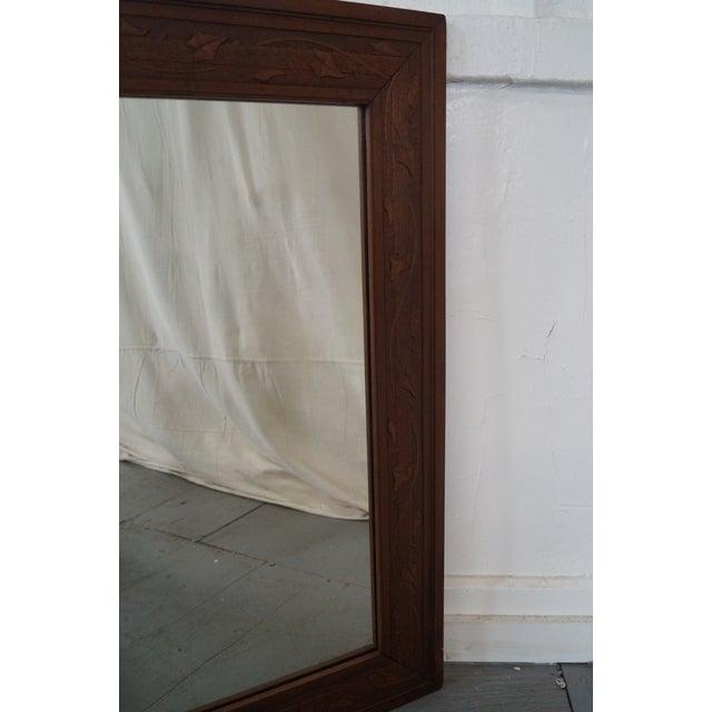 Vintage Incised Carved Vine Leaf Frame Wall Mirror - Image 8 of 10