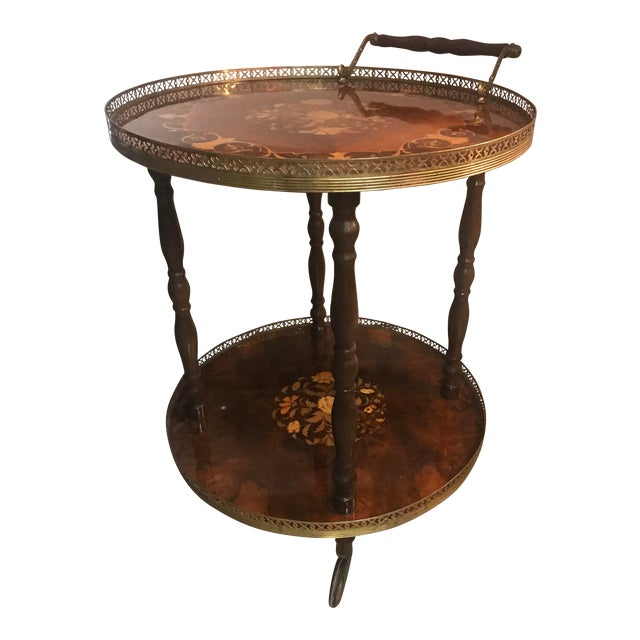 1970s Italian Marquetry Wood and Brass Bar Cart For Sale