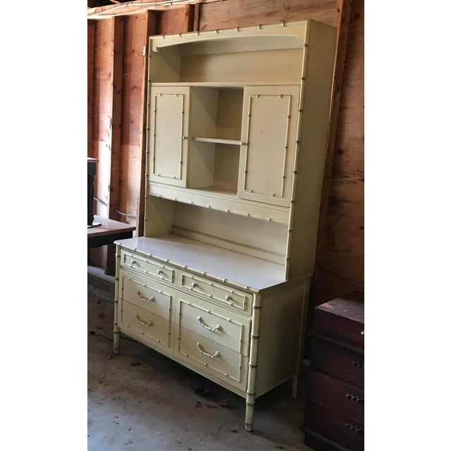Fabulous, unusual 2-piece vintage faux bamboo hutch in good, original condition. Store anything from china & linens, to...