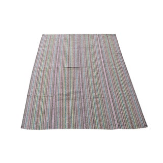 Mid-Century Modern Striped Persian Kilim Rug - 7′1″ × 10′5″ For Sale