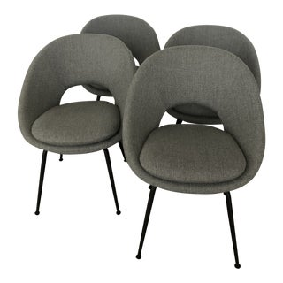West Elm Orb Upholstered Dining Chairs - Set of 4 For Sale