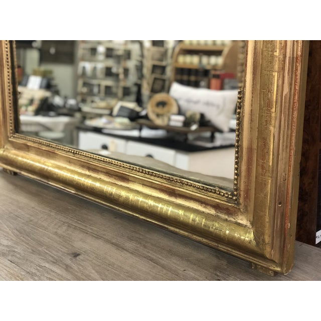 19th Century Antique French Louis Philippe Gold Leaf Mirror For Sale - Image 4 of 11