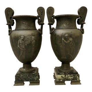 French 19th C. Grand Tour Neoclassical Pewter Urns on a Marble Base - a Pair For Sale