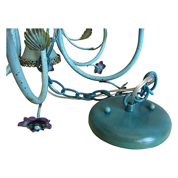 Turquoise Mid-Century Italian Floral Chandelier For Sale - Image 8 of 8
