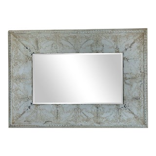 Vintage Transitional Stamped Tin Mirror For Sale