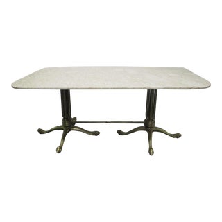 Brass and Marble-Top Dining Table For Sale