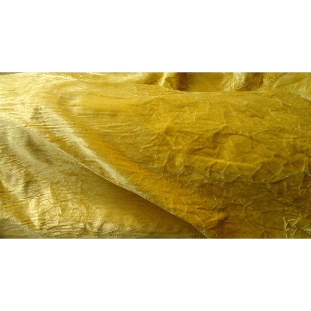 Vintage Crushed Gold Velvet Upholstery Fabric - 1 Yard For Sale - Image 4 of 12
