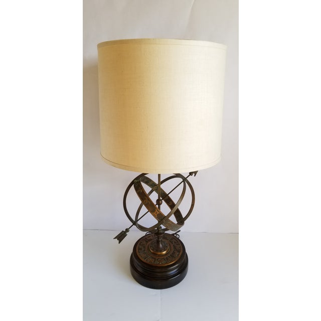 Campaign Mid Century Frederick Cooper Astrological Armillary Table Lamp For Sale - Image 3 of 8