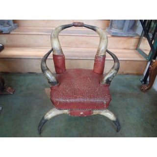 1920s Antique Children's Distressed Leather Horn Chair Preview