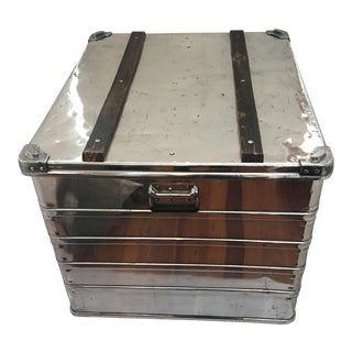 Vintage Polished Large Metal Trunk