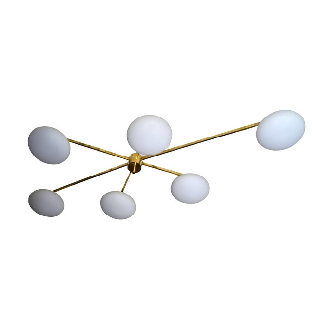 Contemporary Italian Asymmetric Six Opaline Glass Globe and Brass Chandelier For Sale - Image 3 of 5