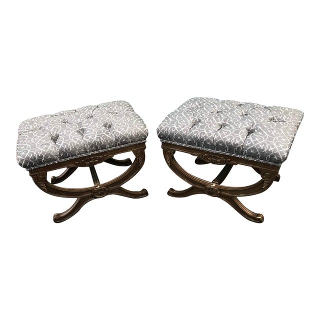 Regency Style X Upholstered Ottomans - a Pair For Sale