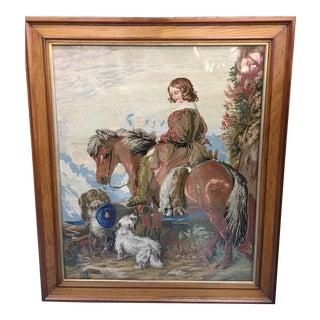 19th C. Needlepoint Hunt Scene For Sale