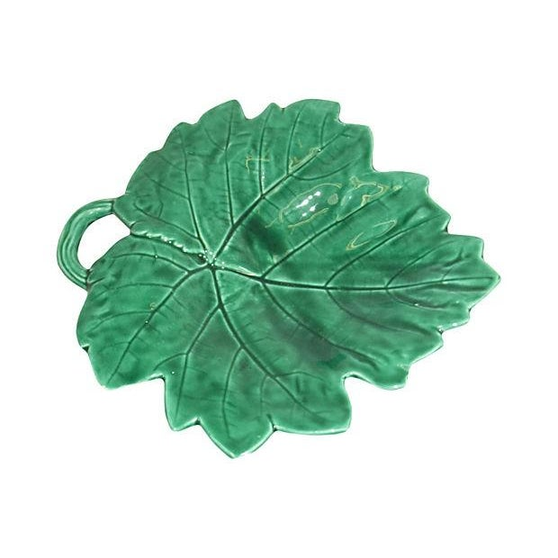 Majolica Leaf Footed Dishes - Set of 3 - Image 3 of 9