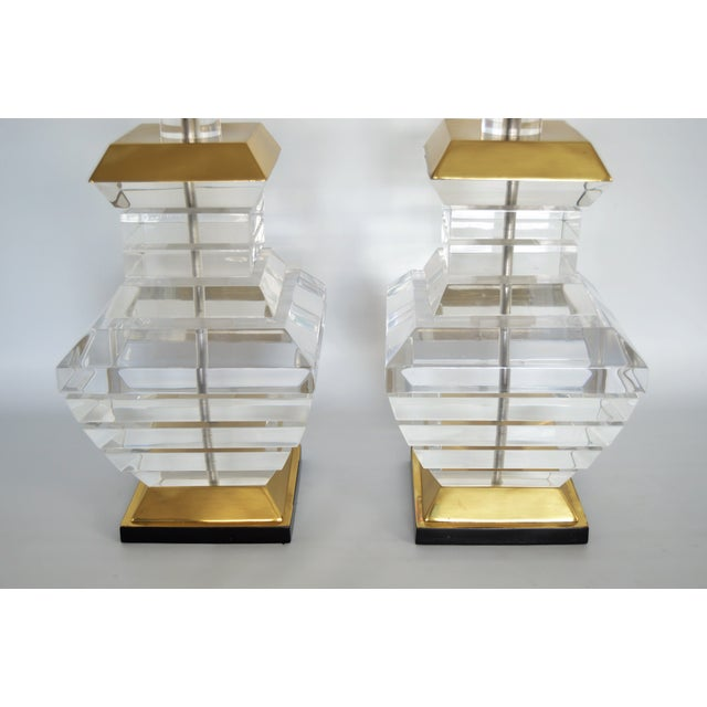 Karl Springer Charles Hollis Jones Style Mid-Century Modern Chunky Lucite & Brass Lamps MCM - a Pair - Image 6 of 11