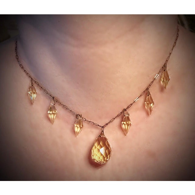 Metal Circa 1920s Czechoslovakian Yellow Faceted Drop Necklace For Sale - Image 7 of 8