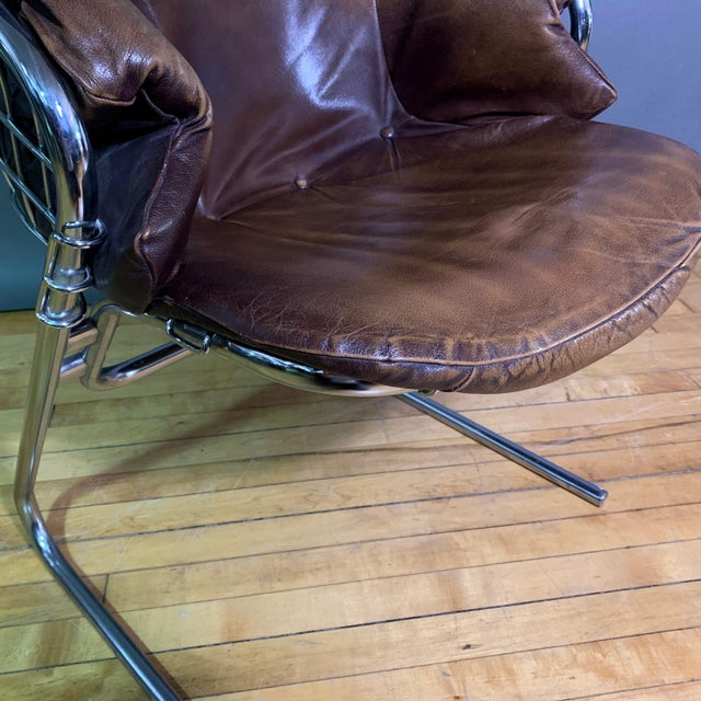 Italian Gaston Rinaldi 1970s Leather Wireframe Armchair, Rima Italy For Sale - Image 3 of 12