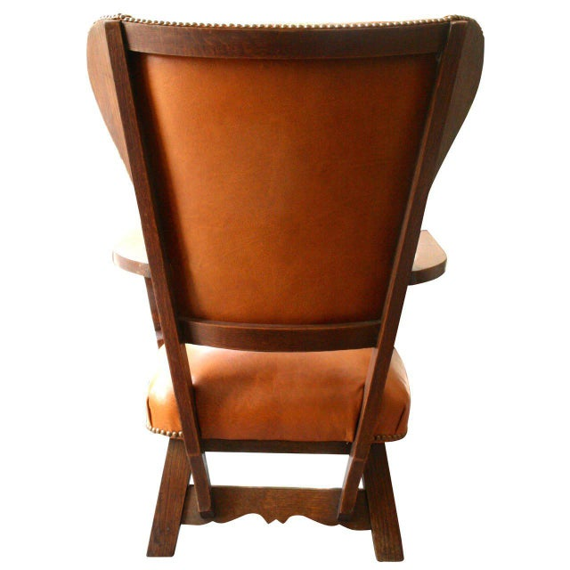 Unusual Exposed Wood Wing Chair With Carved Detail and Leather Upholstery For Sale In New York - Image 6 of 6