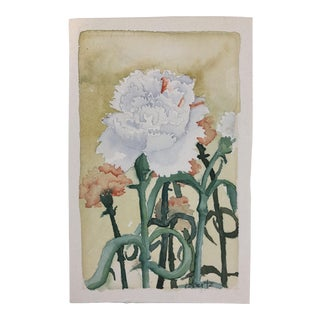 Late 20th Century Carnations Signed Floral Watercolor Painting For Sale