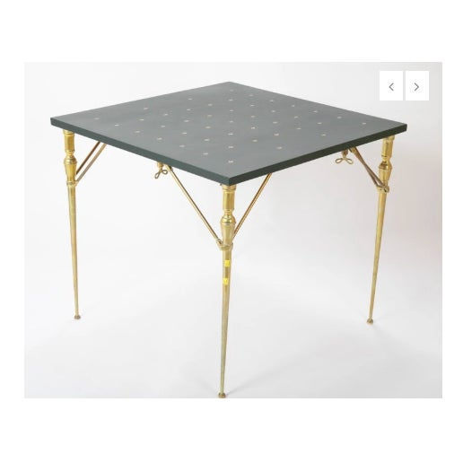 Modern A Leather Top and Brass Folding Games Table For Sale - Image 3 of 7