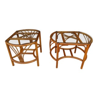 Rattan -Wicker and Bamboo End Tables -A Pair For Sale