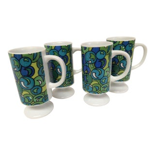 Vintage Mid Century Tall Espresso Demitasse Footed Mugs- Set of 4 For Sale