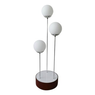 Mid Century Walnut & Chrome Drum Table Floor Lamp Laurel For Sale