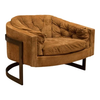 Vintage Tufted Suede Barrel Lounge Chair by Jules Heumann for Metropolitan For Sale