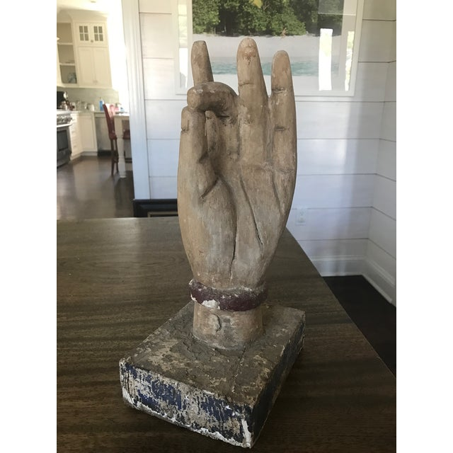 Shuni Mudra Position Carved Wooden Hands - a Pair - Image 2 of 6