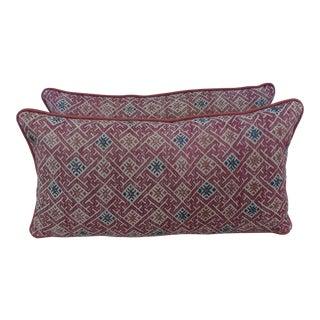 Hmong Tribal Blue & White Textile Pillows - a Pair