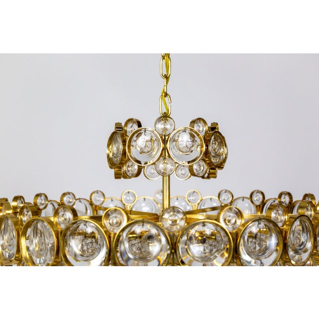 Circular Gilt Brass & Optical Lens Crystal Multi Tier Chandelier by Palwa For Sale - Image 11 of 13