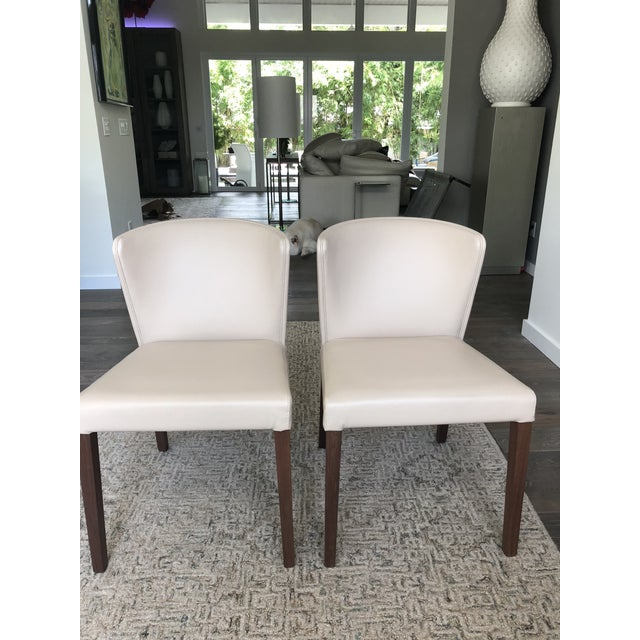 2010s Crate & Barrel Italian Mid-Century Modern Dining Chairs - A Pair For Sale - Image 5 of 6