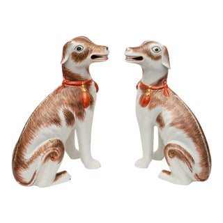 Vintage Reproduction of 18th Century Chinese Export Porcelain Dog Figurines by Mottahedeh - a Pair For Sale