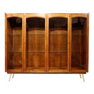 1960s Mid-Century Walnut China Cabinet For Sale