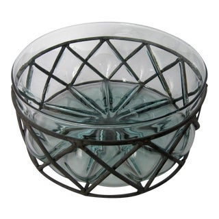 Caged Aqua Glass Bowl