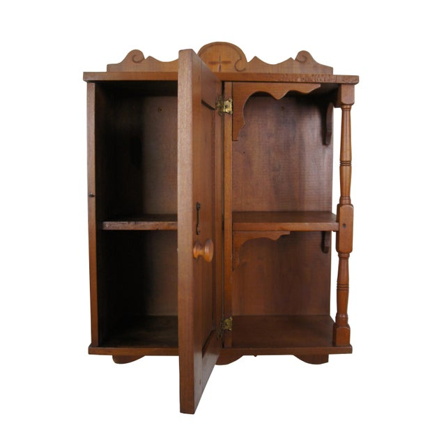 Country 20th Century Early American Style Antique Pine Wall Hanging Medicine Cabinet For Sale - Image 3 of 13