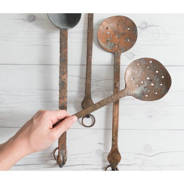 Copper Vintage Hammered Copper Serving Spoons - Set of 4 For Sale - Image 7 of 8