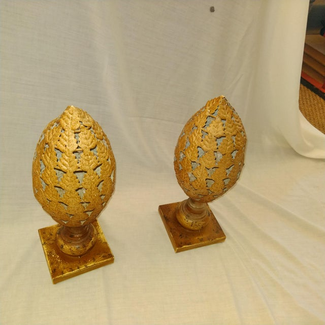 Late 20th Century 20th Century Traditional Tin Finials - a Pair For Sale - Image 5 of 5