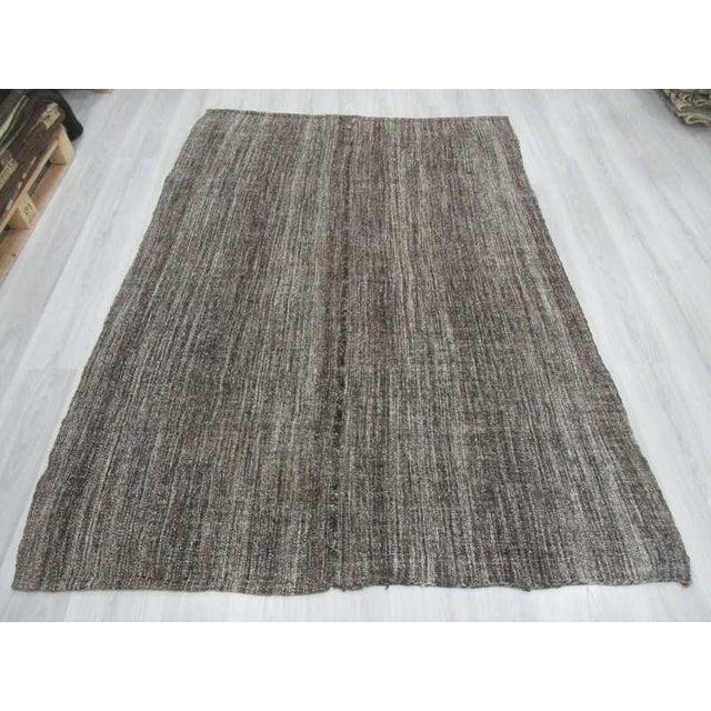 Islamic Dark Gray Vintage Kilim Rug - 5′6″ × 7′5″ For Sale - Image 3 of 6